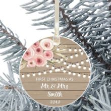 First Christmas as Mr and Mrs Keepsake Ceramic Christmas Tree Decoration - Rustic Wood and Flowers